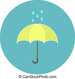 mignon, parapluie, plat, pluie, jaune, gouttes, icône