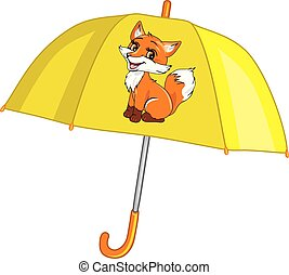 mignon, parapluie, renard, jaune