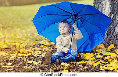 mignon, parapluie, séance, feuilles, jaune, automne, enfant, portrait, jour