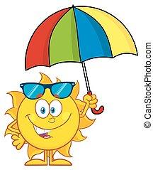 mignon, parapluie, tenue, soleil