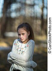 mignon, parc, écolier, poser, photoshoot., girl