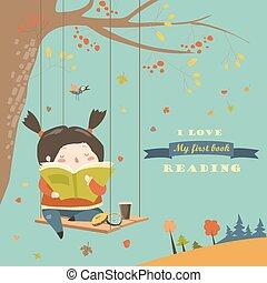 mignon, parc, automne, livre, oscillation, lecture fille