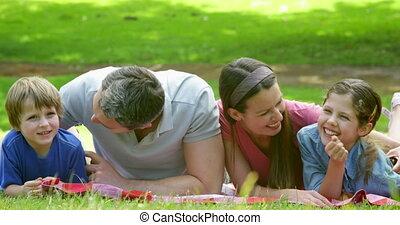 mignon, parc, famille, mensonge, couverture
