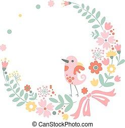 mignon, pastel, vendange, couleurs, fond, floral, oiseau