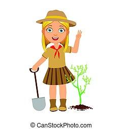 mignon, pelle, coloré, planter, caractère, arbre, scout, vert, girl