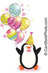 mignon, penguin., anniversaire, fond, carte, heureux