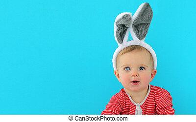 mignon, petit enfant, portrait, girl, oreilles lapin