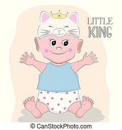 mignon, petit garçon, arrière-plan., chaton, chapeau blanc, roi