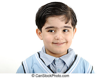 mignon, petit garçon, course, blanc, -, isolé, américain, africaine, mélangé, arabe, blanc, préscolaire