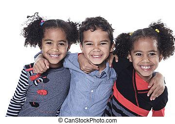 mignon, petit garçon, isolé, américain, fond, africaine, blanc
