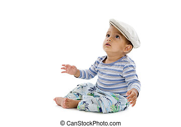 mignon, petit garçon, isolé, casquette, fond, blanc