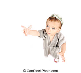 mignon, petit garçon, musulman, isolé, arabe, blanc