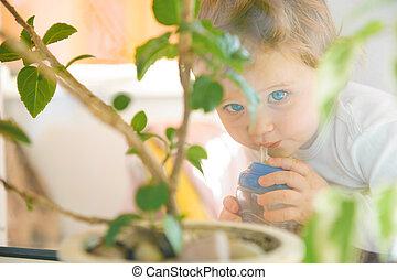 mignon, petit garçon, regarder, fenêtre, par