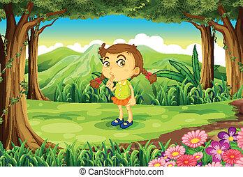 mignon, petite fille, forêt