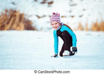 mignon, petite fille, glace