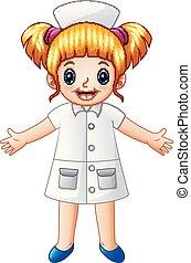 mignon, petite fille, infirmière