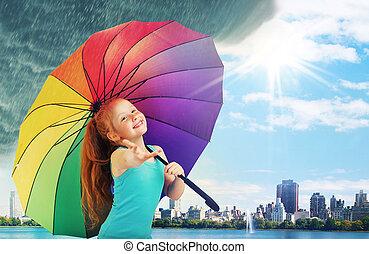 mignon, petite fille, marche, pluie