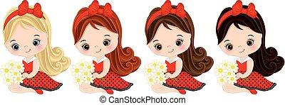 mignon, petites filles, cheveux, couleurs, vecteur, divers