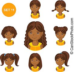 mignon, petites filles, cheveux, divers, africaine, style.