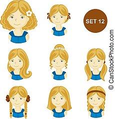 mignon, petites filles, cheveux, divers, blond, style.