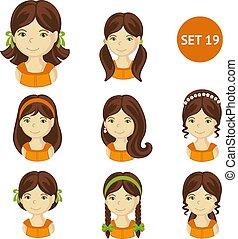 mignon, petites filles, cheveux, divers, brunet, style.