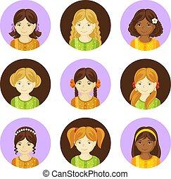 mignon, petites filles, cheveux, divers, style.