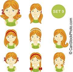 mignon, petites filles, cheveux gingembre, divers, style.