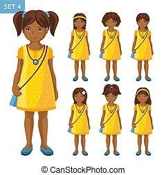 mignon, petites filles, différent, collection, africaine, coiffures