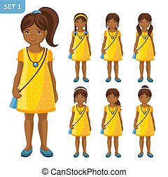mignon, petites filles, différent, collection, hairstyles., africaine