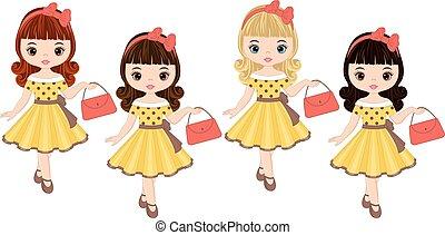 mignon, petites filles, style, cheveux, couleurs, vecteur,...