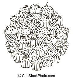 mignon, petits gâteaux, modèle, forme, coloration, cercle, livre