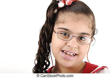 mignon, peu, -, école, américain, course, portrait, africaine, mélangé, girl, adorable, arabe