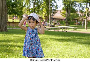 mignon, peu, été, parc, girl, jour