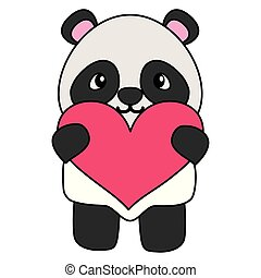 mignon, peu, aimez coeur, ours, panda