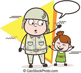 mignon, peu, armée, illustration, vecteur, girl, heureux, dessin animé, homme