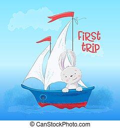 mignon, peu, boat., affiche, lièvre, dessin animé, vecteur, style., flotte