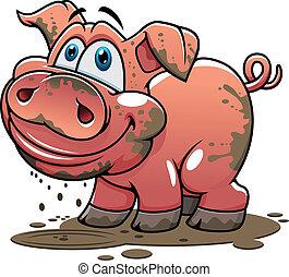mignon, peu, boueux, dessin animé, cochon