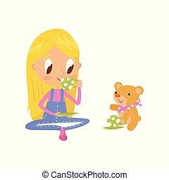 mignon, peu, brunette, girl, cerf volant, caractère, illustration, jouer, vecteur, fond, blanc, dessin animé