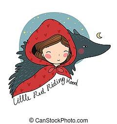 mignon, peu, capuchon, tale., équitation, fée, wolf., girl, rouges