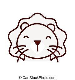 mignon, peu, caractère, animal, lion