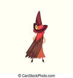 mignon, peu, caractère, halloween, illustration, dessin animé, vecteur, sorcière, déguisement, fond, blanc, girl