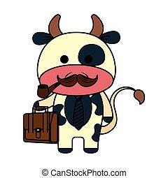 mignon, peu, caractère, vache