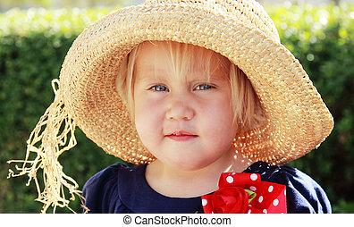 mignon, peu, chapeau, girl