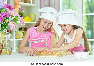 mignon, peu, chapeaux, filles, pâte, confection, chefs