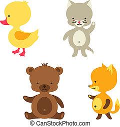 mignon, peu, chat, renard, duck., ours, bébé