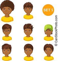 mignon, peu, cheveux, garçons, divers, africaine, style.