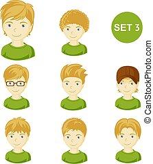 mignon, peu, cheveux, garçons, divers, blond, style.