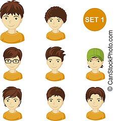 mignon, peu, cheveux, garçons, divers, brunet, style.