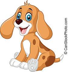 mignon, peu, chien, dessin animé