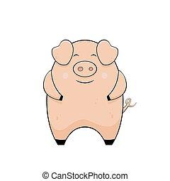 mignon, peu, cochon